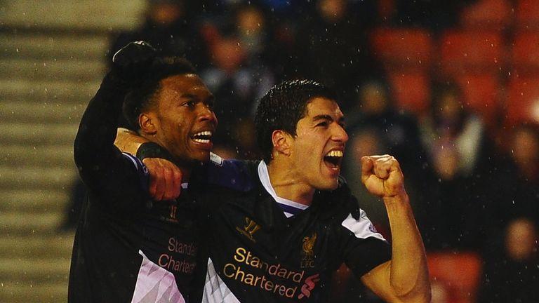 Daniel Sturridge: Celebrates goal at Stoke with Luis Suarez