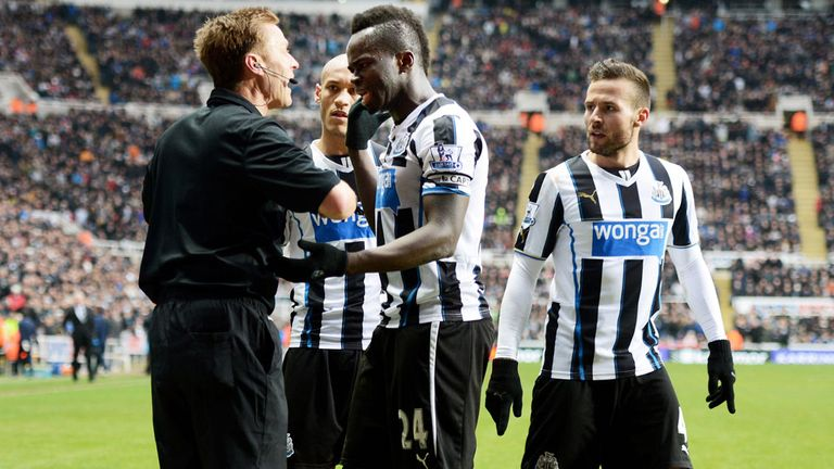 Furious: Tiote protests after his stunner against City was ruled out