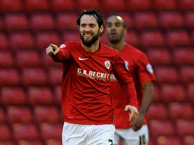 Barnsley's Jim O'Brien celebrates after scoring