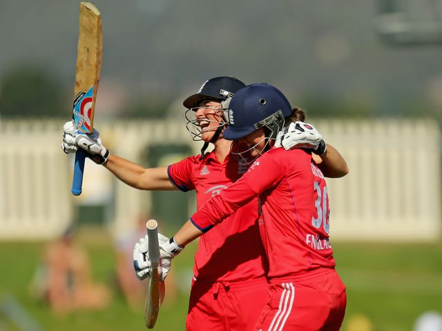 Charlotte Edwards and Sarah Taylor celebrate in Hobart