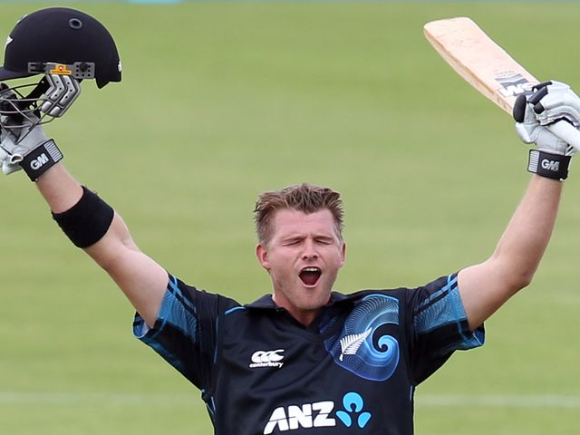 Corey Anderson celebrates his historic feat