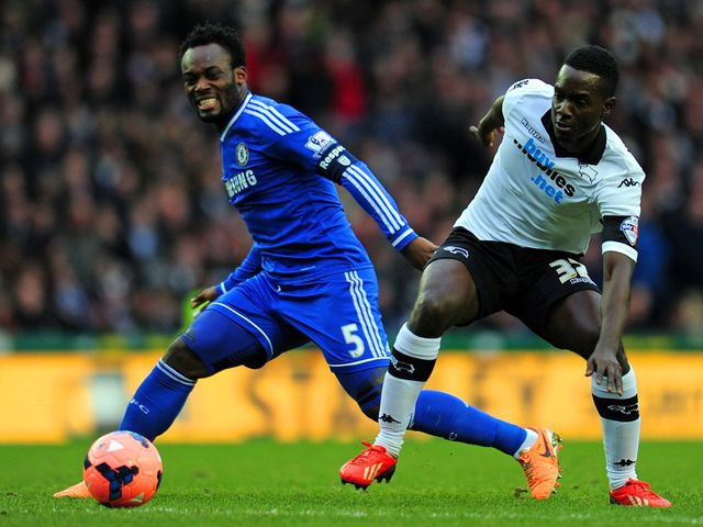 Michael Essien of Chelsea and Simon Dawkins of Derby