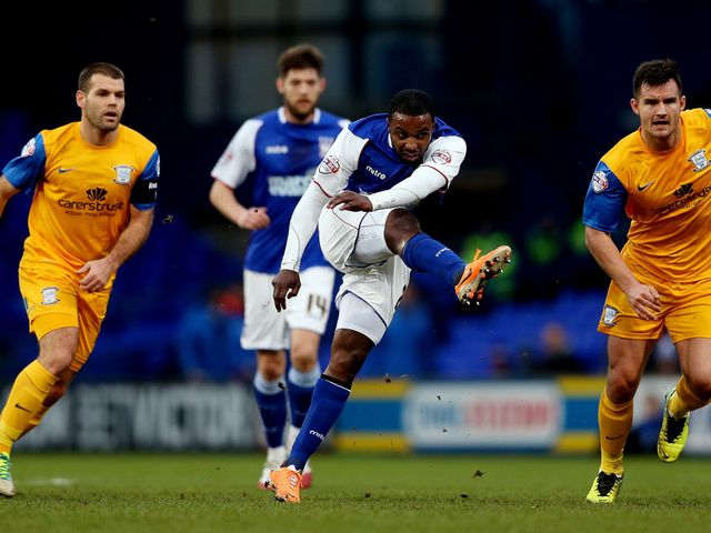 Sylvan Ebanks Blake of Ipswich shoots on goal