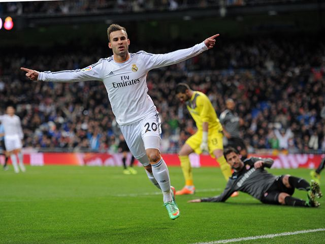 Jese Rodriguez celebrates scoring for Real Madrid
