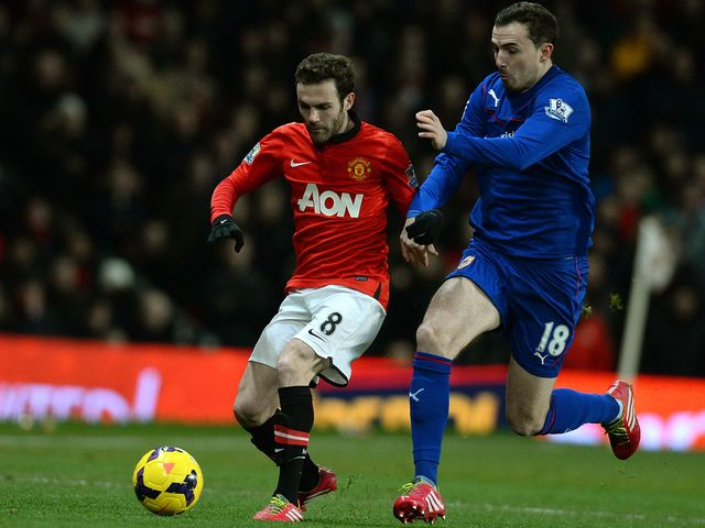 Juan Mata in action on his Manchester United debut