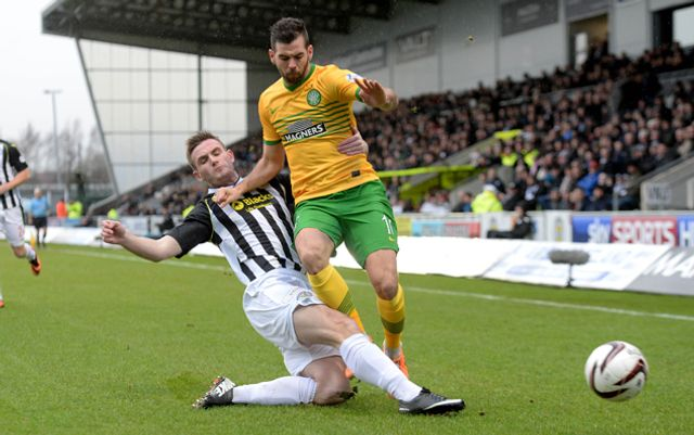 St Mirren's Jason Naismith left tackles Joe Ledley