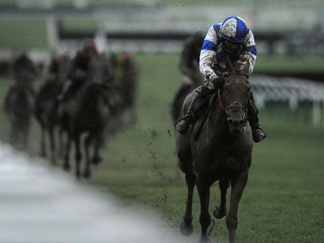Modus goes clear of his rivals in the Listed National Hunt Flat race at Cheltenham