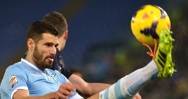 Antonio Candreva challenges for a high ball