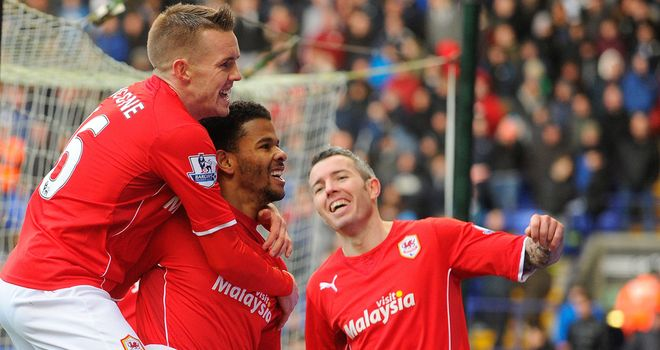 Fraizer Campbell: Celebrates goal for Cardiff