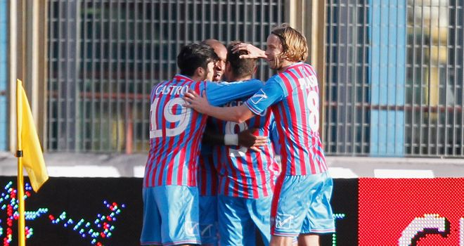 Catania celebrate their first goal