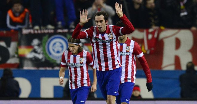 Diego Godin: Celebrates his goal for Atletico Madrid