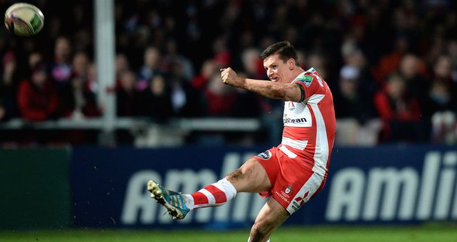 Freddie Burns kicking for Gloucester against Munster earlier this month