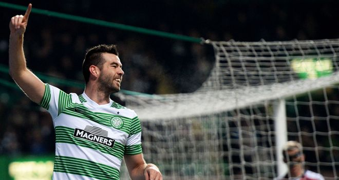 Joe Ledley celebrates after opening the scoring