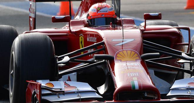 Raikkonen drives the Ferrari on the first day of winter testing