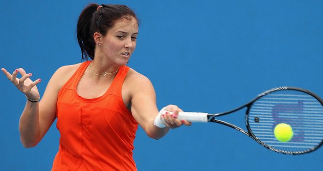 Laura Robson practising in Melbourne on Saturday