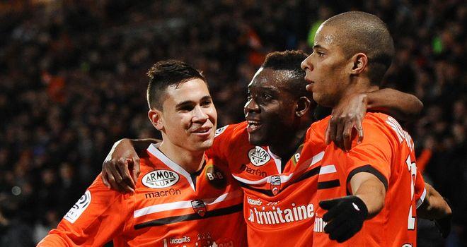 Lorient celebrate Kevin Monnet-Paquet's goal