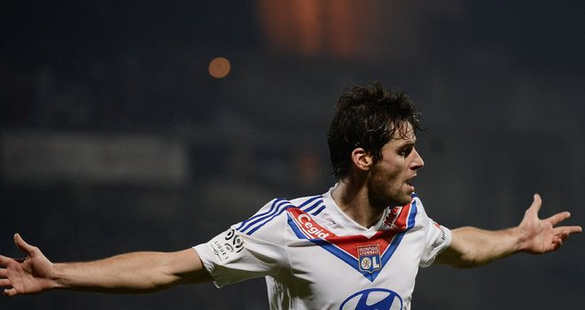 Lyon's French midfielder Yoann Gourcuff celebrates