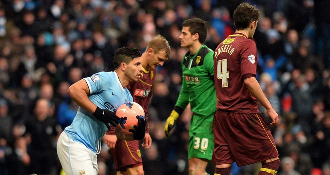 Sergio Aguero: Netted a hat-trick as Manchester City survived a huge scare against Watford