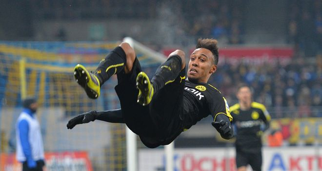 Pierre-Emerick Aubameyang celebrates his winning goal for Dortmund