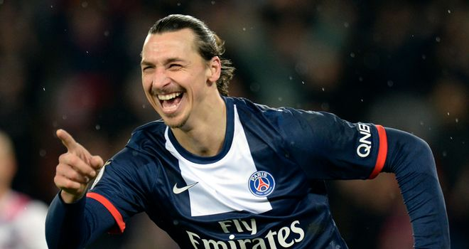 Zlatan Ibrahimovic celebrates his PSG goal