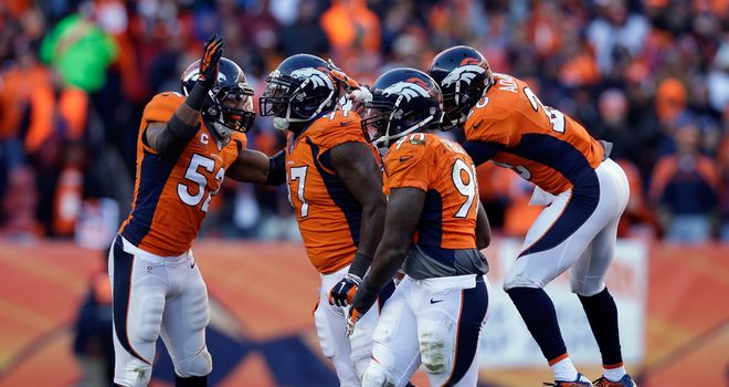 The Denver Broncos celebrate beating San Diego at Mile High