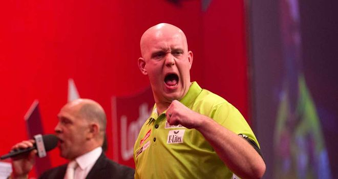 Michael van Gerwen: Pulled away from Dave Chisnall to win comfortably