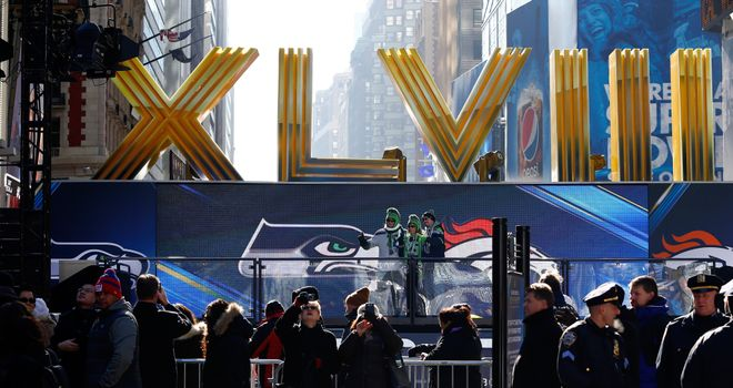 Fans enjoy Super Bowl Boulevard on January 30, 2014 in New York City