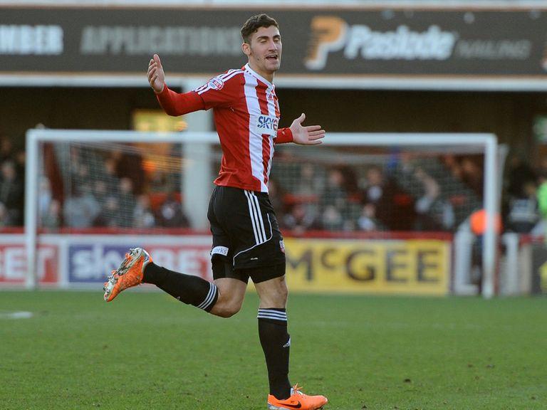 Brentford's Marcello Trotter celebrates scoring their first goal