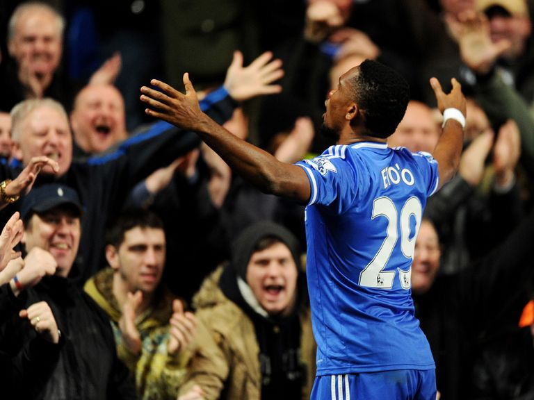 Samuel Eto'o enjoys his hat-trick in Chelsea's 3-1 win over Manchester United.