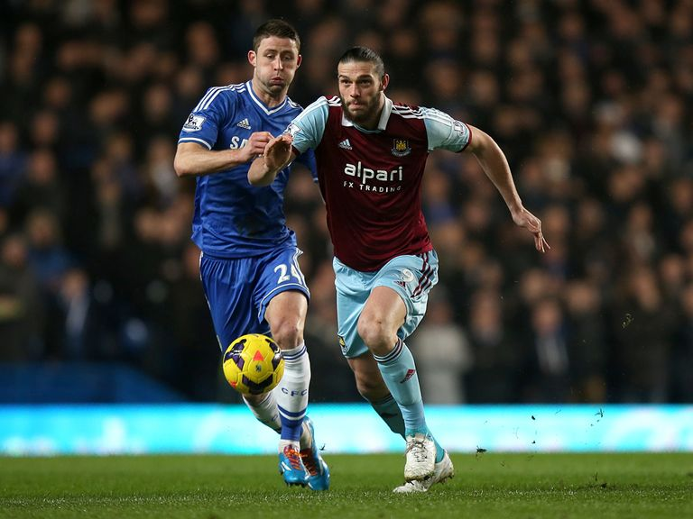 Gary Cahill in action for Chelsea against West Ham.