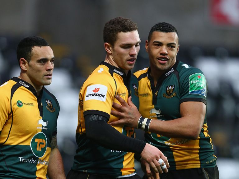 George North celebrates a try for Northampton