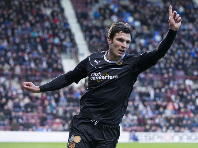 John Sutton celebrates after scoring the only goal of the game