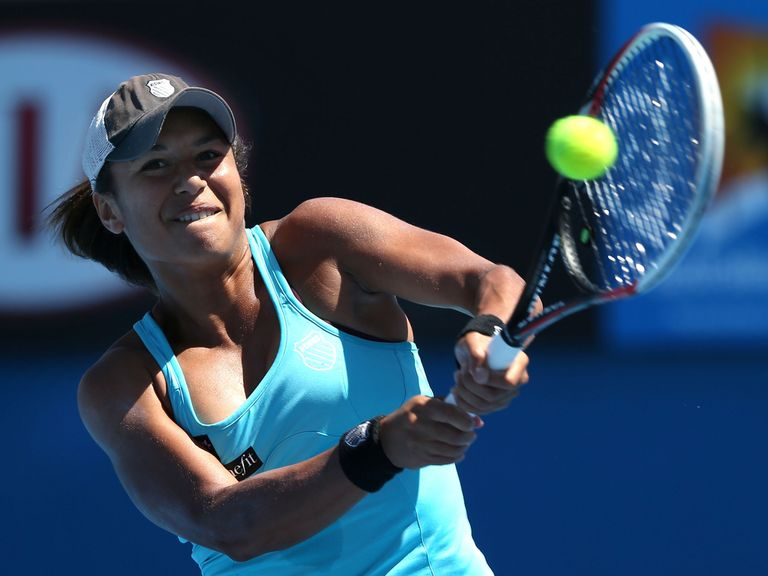 Heather Watson en route to a three-set defeat at the Australian Open on Monday