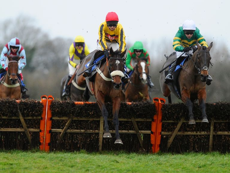 Jumps Road (red cap): Our man Brendan's ride in the big one at Newbury