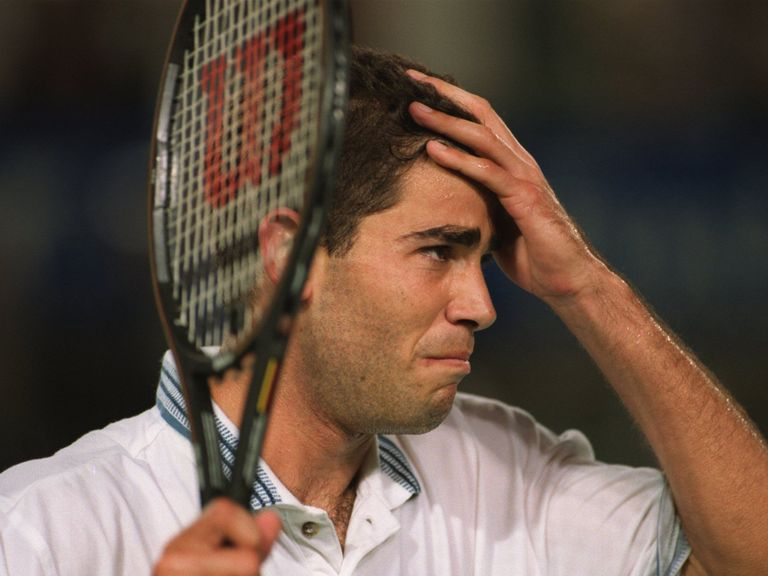 Pete Sampras fights back the tears at the 1995 Australian Open