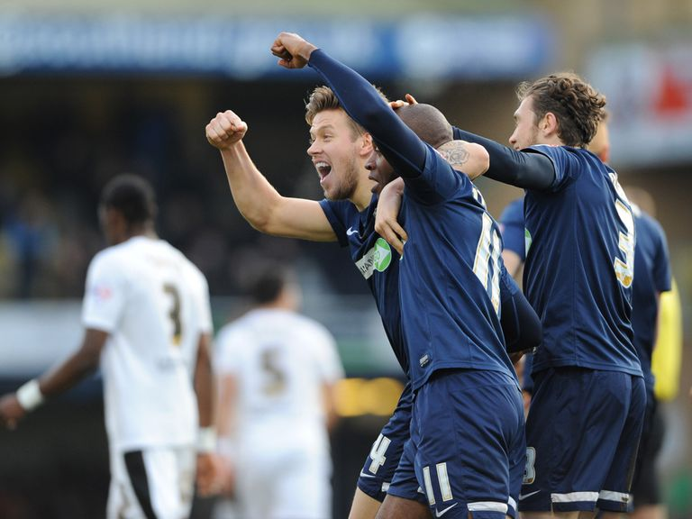 Southend celebrate victory over Chesterfield.