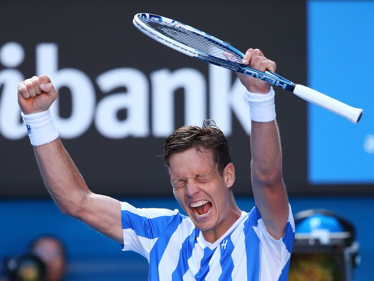 Tomas Berdych celebrates his victory over Ferrer