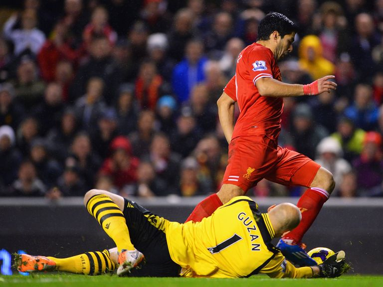 Guzan was adjudged to have brought Suarez down at Anfield
