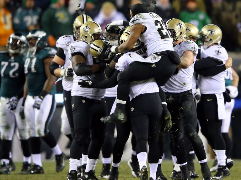The Saints celebrate their late, late win