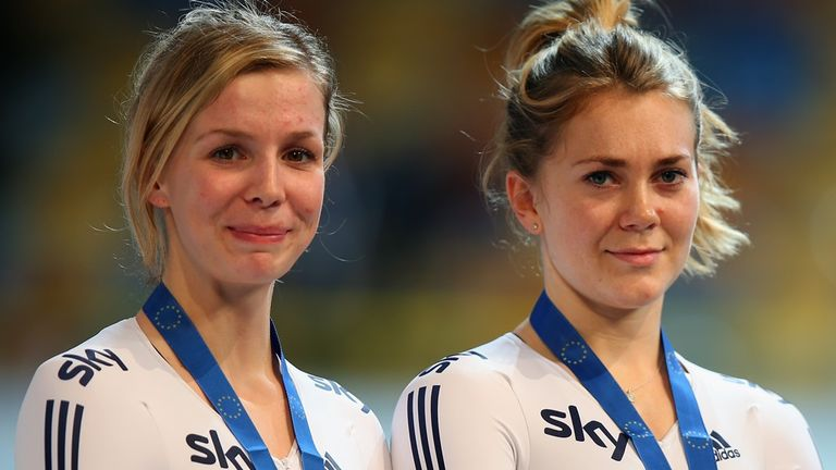 Becky James, left, and Jess Varnish are targeting sprint medals in Cali