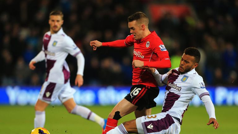 Craig Noone: Challenged by Aston Villa full-back Ryan Bertrand