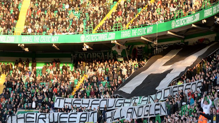 Green Brigade display 'offensive' banner at Parkhead