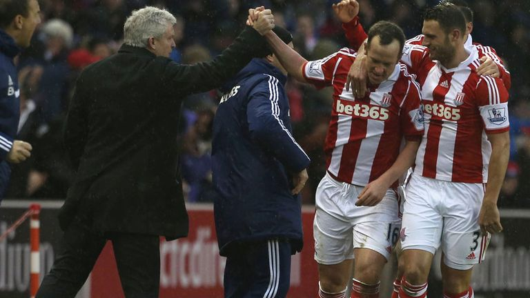 Charlie Adam: Celebrates with his boss after winner against Manchester United