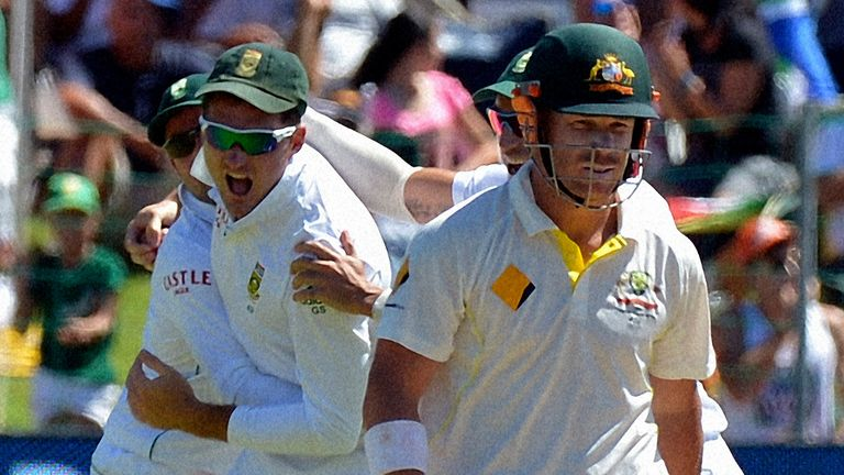 David Warner is dismissed at Port Elizabeth