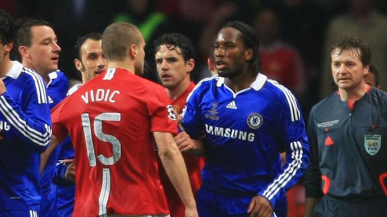 Vidic enjoyed some fierce battles with Chelsea's Didier Drogba