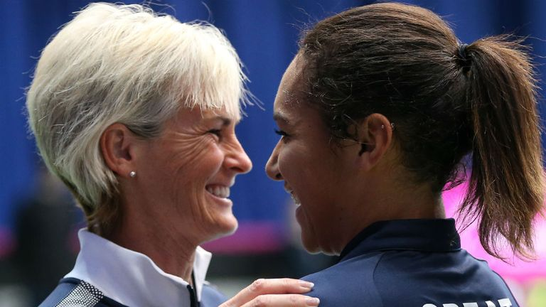 Heather Watson (R): All smiles with captain Judy Murray (L) after her win