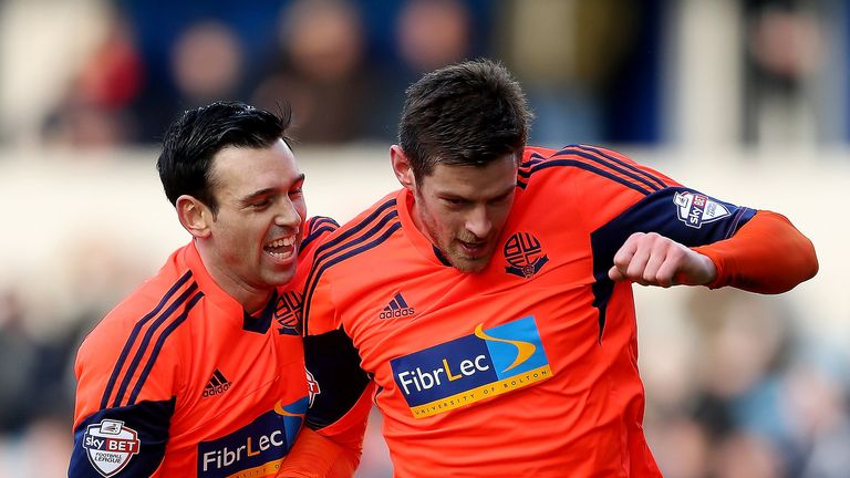 Mark Davies (L) and Lukas Jutkiewicz celebrate during Bolton's win over Leeds
