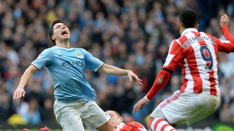 Samir Nasri in action against Stoke City
