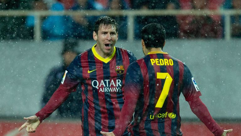 Lionel Messi (l): Celebrates his first goal