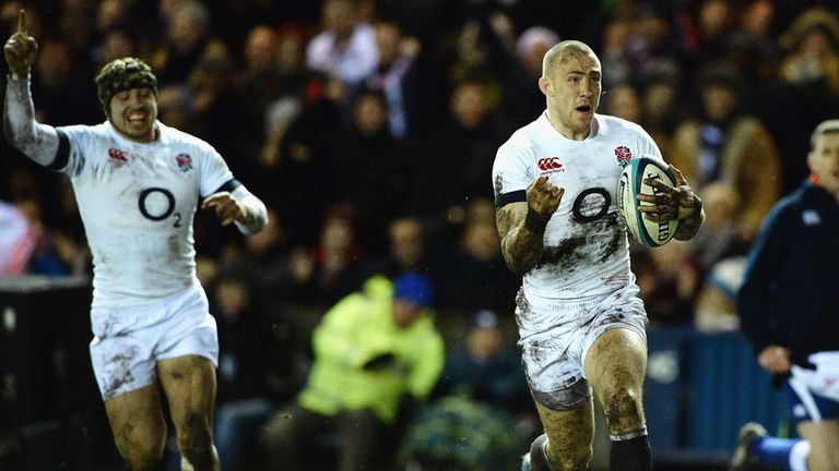 Mike Brown: Races over the line to score for England